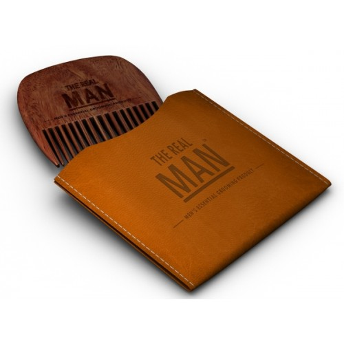 THE REAL MAN Wooden Comb & Case - Fine & Coarse Teeth