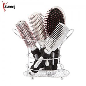 Zureni Hair Combs Combo For Unisex With Stand Pack Of 4 - (Silver)