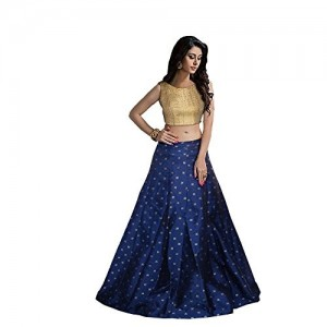 V&D Fashion women's Gold lehega choli (blue,gold)