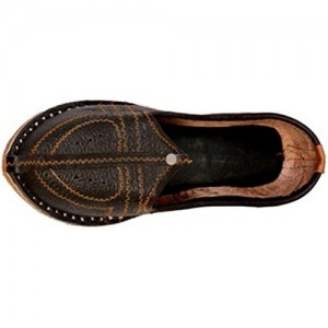 Unique F Zone Dark Brown Desainer Lather Bhar Silai Shoes