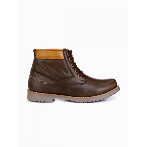 Fentacia Men Brown Poly Urathene Flat Boots