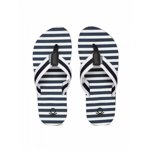 bdb812b09 ... United Colors of Benetton Navy Blue   Off-White Striped Thong Flip-Flops  ...