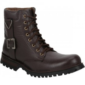 Bog Chief Brown Artificial Leather Lace Up Boots For Men
