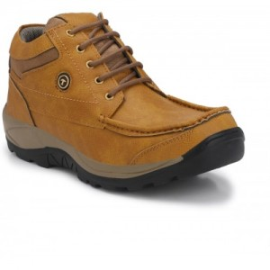 LAYASA Tan Synthetic Leather Lace Up Boots For Men