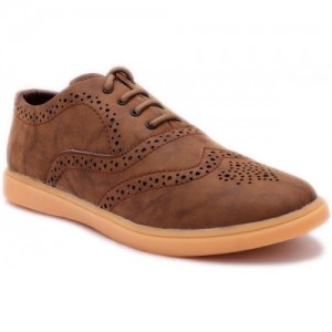 Red Rose Brown Synthetic Leather Casuals For Men