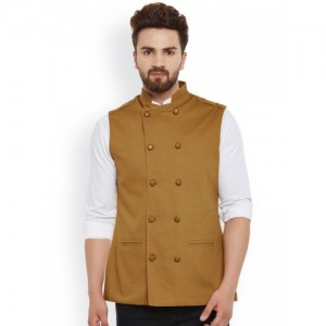 Hypernation Khaki Double-Breasted Nehru Jacket