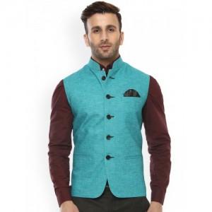 Hangup Turquoise Blue Nehru Jacket with Pocket Square