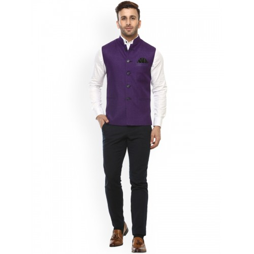 Hangup Purple Solid Nehru Jacket