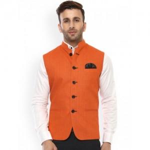 Hangup Men Orange Solid Nehru Jacket