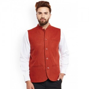 Even Men Rust Red Woollen Nehru Jacket