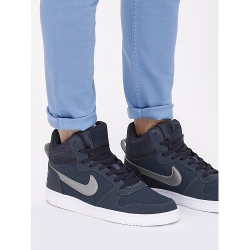 ... Nike Court Borough Mid Navy Blue Sneakers ...
