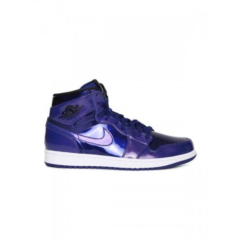 ... Nike Men Blue AIR JORDAN 1 RETRO HIGH Leather Sneakers ...