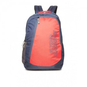 Flying Machine Red & Blue Nylon Color Block Laptop Backpack