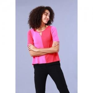 Chumbak Pink Viscose Colour Block Keyhole Swing Top