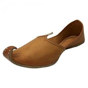 Step n Style Mens Tan Khussa Punjabi Rajasthani Mojari