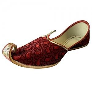 Step n Style Maroon Fabric Punjabi Handmade Mojari