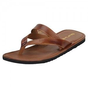 Brune Brown mid and v strap Leather Chappal