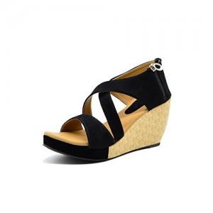 Myra Black Velvet Textured Heel Wedges Sandal