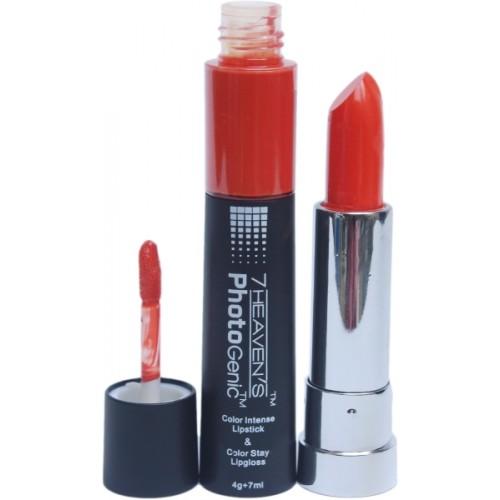 7 Heaven's Color Intense Lipstick & Color Stay Lip Gloss(7 ml, Sinful Orange)