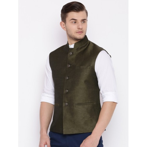 Raymond Olive Green Contemporary Fit Nehru Jacket