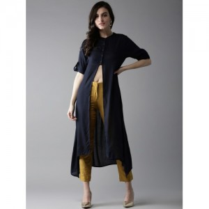 HERE&NOW Navy Blue Solid Kurta with High Front Slit