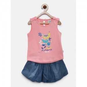 FS Mini Klub Girls Coral Pink & Blue Printed Clothing Set