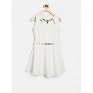 Tiny Girl Girls Off-White Embellished Detail Fit & Flare Dress