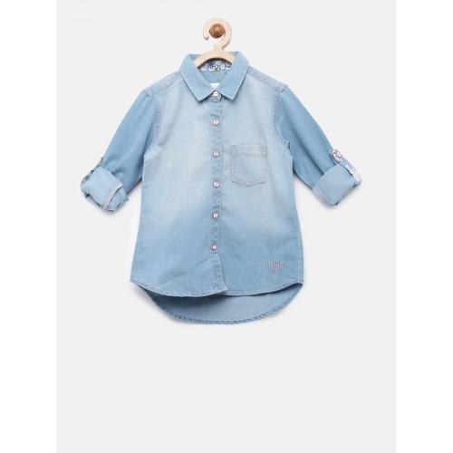 U.S. Polo Assn. Kids Girls Blue Regular Fit Faded Casual Denim Shirt