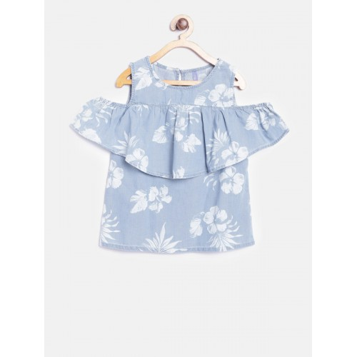 Yellow Kite Girls Blue Floral Print Top