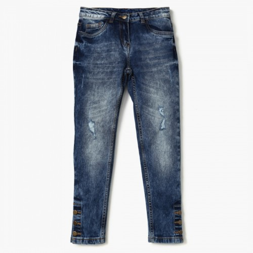 FAME FOREVER Button Accent Slim Fit Jeans