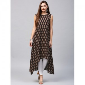 Nayo Black Cotton High-Low Kurta