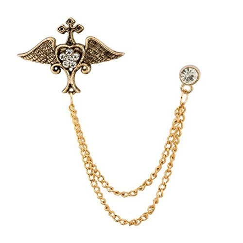 Knighthood Exclusive Winged Heart With Swarovski  Brooch for men