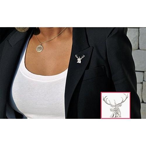 Exxotic Designer Antique Rhodium Plating Stag Brooch & Lapel Pin For Men & Women