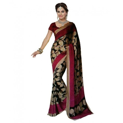 Beige & pink  Dots printed art Silk saree with blouse