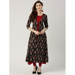 Libas Black & Maroon Cotton  Printed A-Line Kurta