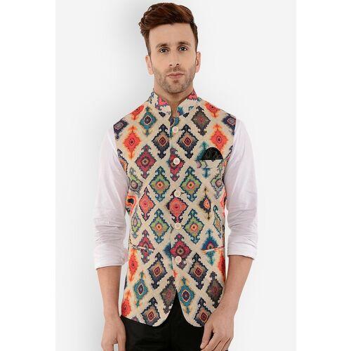 Lee Marc Multicolor Silk Blend Printed Nehru Jacket