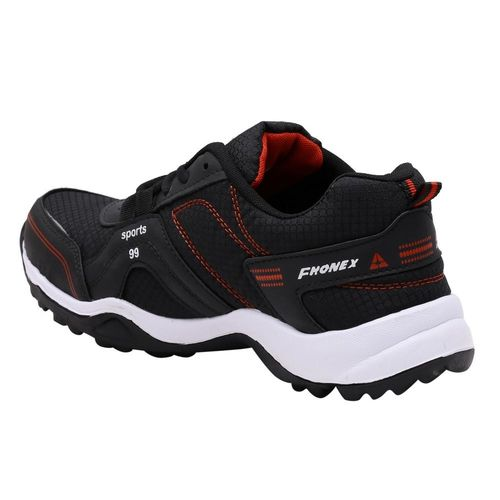Fhonex Black Synthetic Lace-up Running Shoes