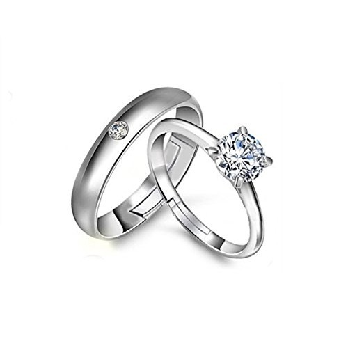 Unnati Creation Sterling Platinum Plated Couple Ring for Boy & Girls