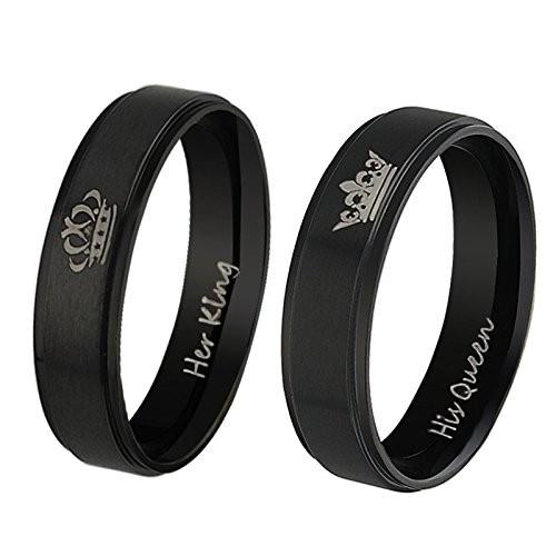 Moneekar Jewels Her King His Queen Black Couple Ring