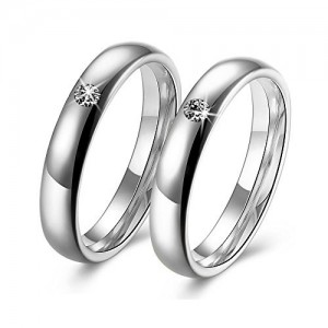 Via Mazzini Stainless Steel Crystal Silver Proposal Couple Rings For Boys And Girls (Ring0378)
