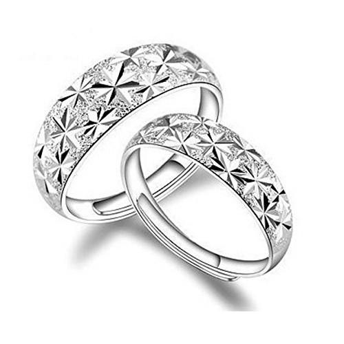 Girlz! Cute Titanium Steel Couple Engraving Stars Adjustable Wedding Rings Men & Women