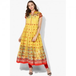 Biba Yellow Cotton Printed Anarkali Kurta