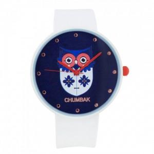 Chumbak White Flower Owl Silicone Wrist Watch
