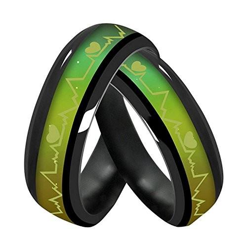 Moneekar Jewels Titanium Steel Emotional Change Color Couple Ring