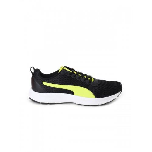 65274250fb8 Buy Puma Unisex Black   Fluorescent Green Fabian IDP Running Shoes ...