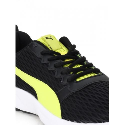 Puma Unisex Black & Fluorescent Green Fabian IDP Running Shoes
