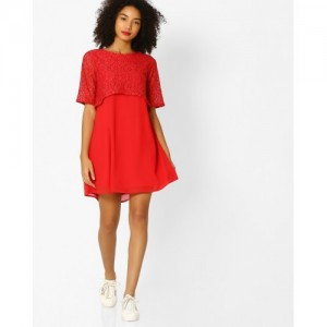 Femella Popover Red Rayon  Dress with Lace Sleeves