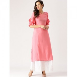 Libas Pink Solid Rayon Straight Kurta