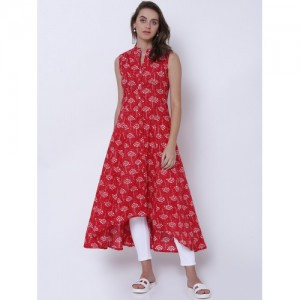 Vishudh Women Red & White Printed Anarkali Kurta