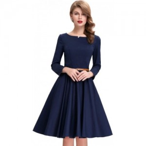 Aika Blue Satin Women Fit and Flare Dress